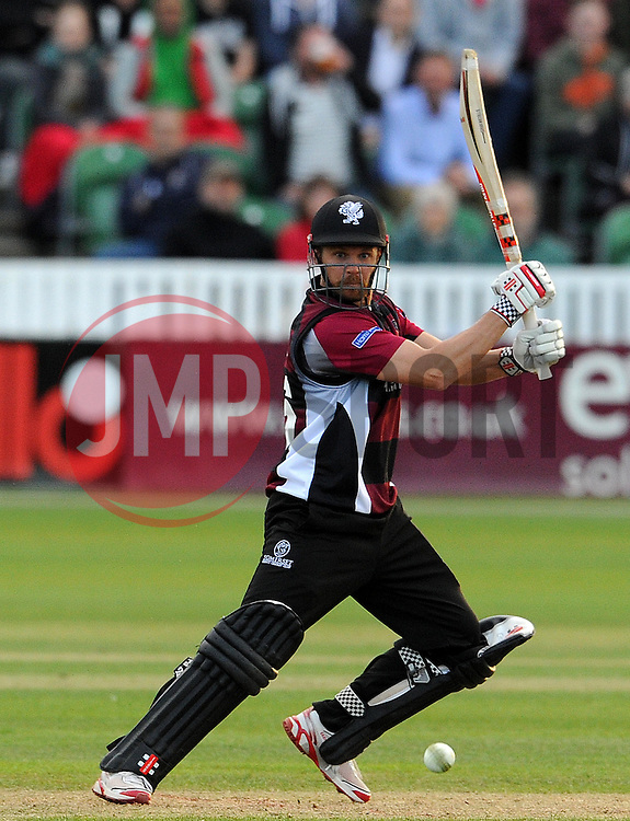 Somerset's James Hildreth cuts the ball - Photo mandatory by-line: Harry Trump/JMP - Mobile: 07966 386802 - 05/06/15 - SPORT - CRICKET - Somerset v Hampshire - The County Ground, Taunton, England.