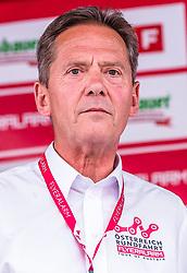 11.07.2019, Kitzbühel, AUT, Ö-Tour, Österreich Radrundfahrt, 5. Etappe, von Bruck an der Glocknerstraße nach Kitzbühel (161,9 km), Siegerehrung, im Bild Franz Steinberger (Tourdirektor) // Franz Steinberger (Tourdirektor) during the winner ceremony of the 5th stage from Bruck an der Glocknerstraße to Kitzbühel (161,9 km) of the 2019 Tour of Austria. Kitzbühel, Austria on 2019/07/11. EXPA Pictures © 2019, PhotoCredit: EXPA/ JFK