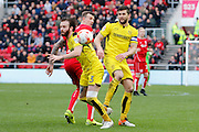 Burton Albion defender John Brayford (3) and Burton Albion defender John Mousinho (4) win the ball during the EFL Sky Bet Championship match between Bristol City and Burton Albion at Ashton Gate, Bristol, England on 4 March 2017. Photo by Richard Holmes.