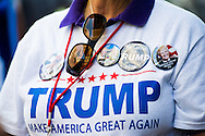 Jul 20, 2016; Cleveland, OH, USA; A Donald Trump supporter in downtown Cleveland at the site of the Republican National Convention.