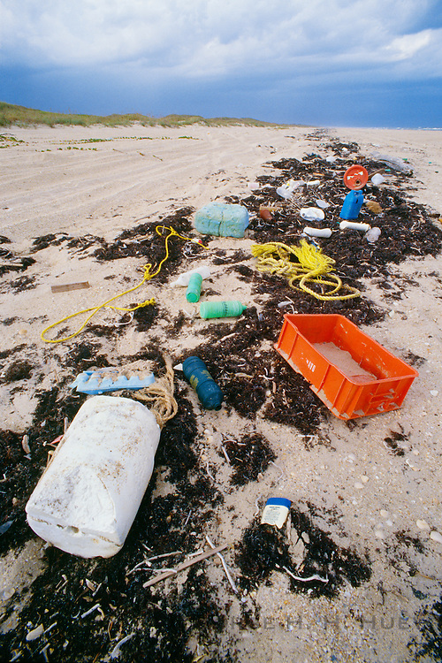 350505-1024 ~ Copyright:  George H. H. Huey ~ Plastic beach debris. Padre Island National Seashore, Texas.