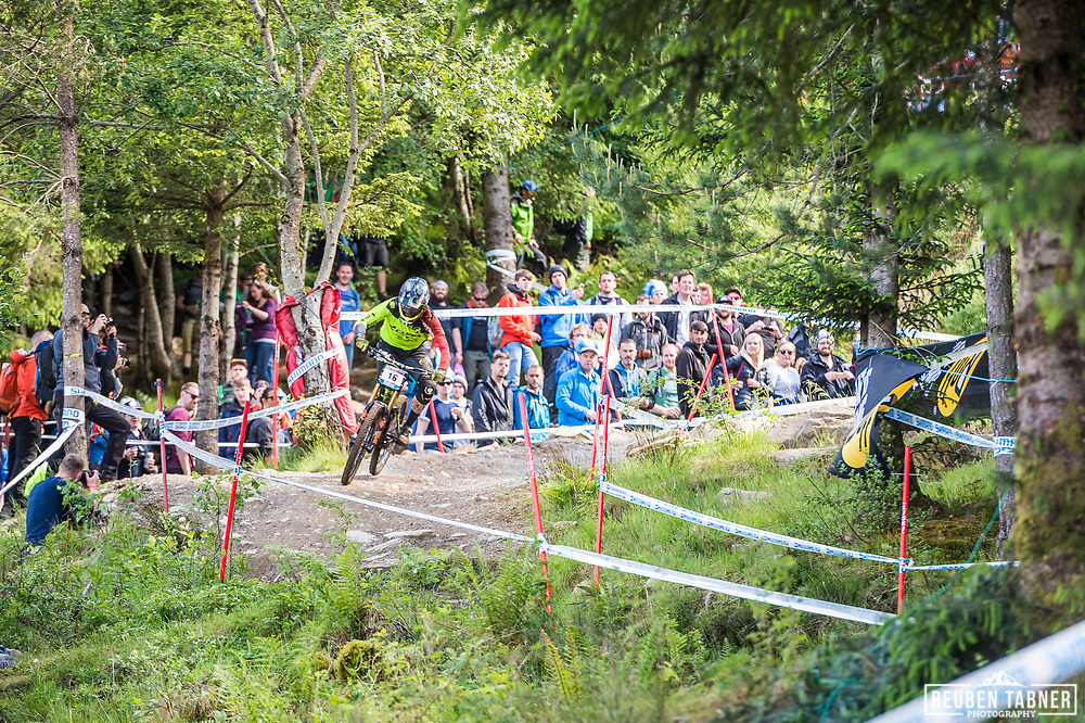Greg Williamson during his race run at the UCI Mountain Bike World Cup in Fort William.