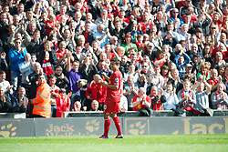 LIVERPOOL, ENGLAND - Sunday, May 19, 2013: Liverpool's Philippe Coutinho Correia celebrates scoring the first goal against Queens Park Rangers during the final Premiership match of the 2012/13 season at Anfield. (Pic by David Rawcliffe/Propaganda)
