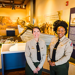 Park managers Angela Crenshaw (left) and Dana Paterra, at the visitor center at the Harriet Tubman Underground Railroad State Park in Church Creek, Maryland.