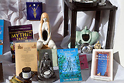 Products on display in shop window of new age mystical shop, Ipswich, Suffolk, England - an example of a specialist shop.