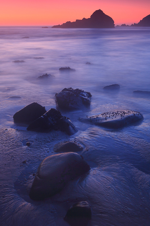Low Tide Shoreline - Dusk - Pfeiffer State Beach - Big Sur, CA