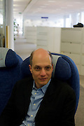 "While working on his book, ""A Week at the Airport: A Heathrow Diary"" (2009), the writer Alain de Botton's sits in an airline seat at the British Airways' corporate headquarters at Waterside at Harmondsworth near Heathrow Airport."