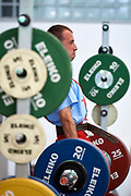 Chorzow, Poland - 2018 June 10: Special Olympics Athlete Marcin Kwiatkowski lifts in men's weightlifting competition during National Special Olympics Games 2018 at Slaski Stadium on June 10, 2018 in Chorzow, Poland.<br /> <br /> Adam Nurkiewicz declares that he has no rights to the image of people at the photographs of his authorship.<br /> <br /> Picture also available in RAW (NEF) or TIFF format on special request.<br /> <br /> Any editorial, commercial or promotional use requires written permission from the author of image.<br /> <br /> Image can be used in the press when the method of use and the signature does not hurt people on the picture.<br /> <br /> Mandatory credit:<br /> Photo by &copy; Adam Nurkiewicz / Mediasport