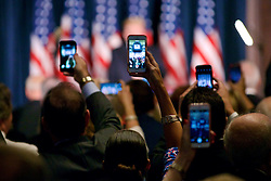 Cellphones capture Republican Presidential Candidate Donald Trump as he makes his appearance at a campaign event in Philadelphia, PA.