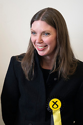 Edinburgh, Scotland, UK. 27 May, 2019. The six new Scottish MEPs are declared at the City Chambers in Edinburgh, SNP's Alyn Smith, Christian Allard and Aileen McLeod, Louis Stedman-Bruce from the Brexit Party, Sheila Ritchie of the Liberal Democrats and Baroness Nosheena Mobarik of the Conservatives. Pictured SNP's Aileen McLeod
