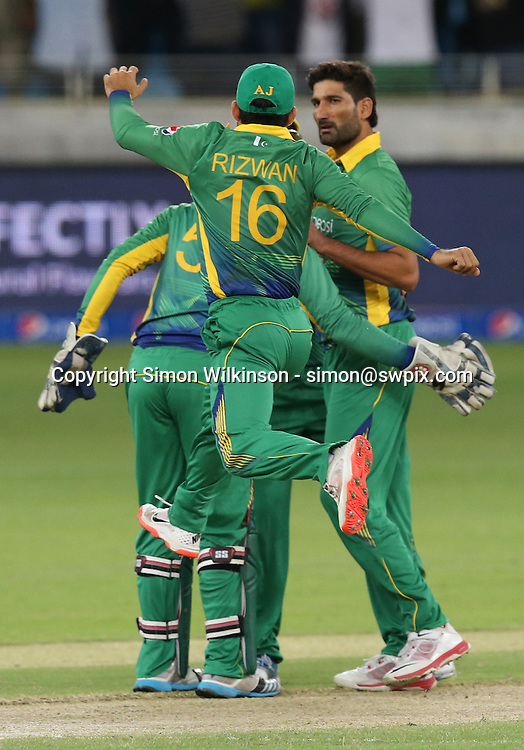 PICTURE BY MARK GREEN/SWPIX.COM  Pakistan v England 1st T20, Dubai Internayional Stadium, UAE, 26/11/15 <br /> Pakistan celebrate yjr early wicket of England's Jason Roy for only 9