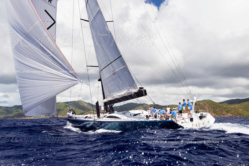 Leopard 3 sailing in the Antigua Superyacht Challenge, day two.