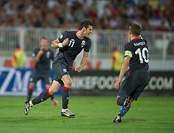 NOVI SAD, SERBIA - Tuesday, September 11, 2012: Wales' Gareth Bale celebrates scoring his side's only goal against Serbia during the 2014 FIFA World Cup Brazil Qualifying Group A match at the Karadorde Stadium. (Pic by David Rawcliffe/Propaganda)