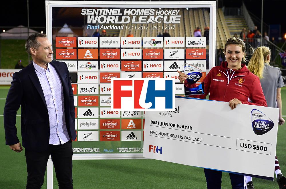 AUCKLAND - Sentinel Hockey World League final women<br /> Match id:10322<br /> Ceremonie<br /> Foto: Best Youth Player<br /> <br /> WORLDSPORTPICS COPYRIGHT FRANK UIJLENBROEK