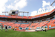 MIAMI - NOVEMBER 6:  Pregame end zone photo showing NFL branding at the Miami Dolphins game against the Atlanta Falcons on November 6, 2005 at Dolphins Stadium in Miami, Florida. The Falcons defeated the Dolphins 17-10. ©Paul Anthony Spinelli