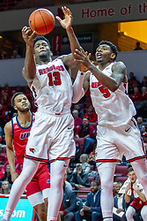 NORMAL, IL - December 18: Rey Idowu gets a rebound also followed by Keith Fisher III during a college basketball game between the ISU Redbirds and the UIC Flames on December 18 2019 at Redbird Arena in Normal, IL. (Photo by Alan Look)