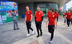 NANNING, CHINA - Wednesday, March 21, 2018: Wales' Andy King, Ben Davies and Joe Allen during a team walk near the Wanda Realm Resort ahead of the 2018 Gree China Cup International Football Championship. (Pic by David Rawcliffe/Propaganda)