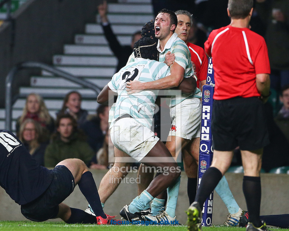 Rory Triniman of Cambridge University celebrates scoring the winning try during The Varsity Match at Twickenham Stadium, Twickenham<br /> Picture by Mark Chappell/Focus Images Ltd +44 77927 63340<br /> 08/12/2016