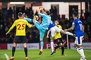Watford (30) Orestis Karnezis, Watford (25) José Cholevas, Everton (11) Theo Walcott during the Premier League match between Watford and Everton at Vicarage Road, Watford, England on 24 February 2018. Picture by Sebastian Frej.
