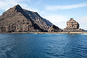 Steep gullied cliffs near Punta Fariones, Chinijo Archipelago, Orzola, Lanzarote, Canary Islands, Spain