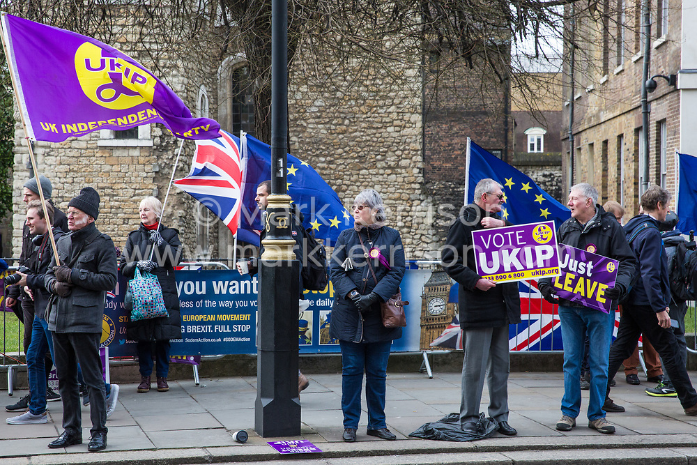 London, UK. 29th January, 2019. Rival pro- and anti-Brexit protests, including supporters of UKIP, outside Parliament on the day of votes in the House of Commons on amendments to the Prime Minister's final Brexit withdrawal agreement which could determine the content of the next stage of negotiations with the European Union.