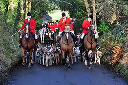 &copy; Licensed to London News Pictures.26/12/2017.<br /> CHIDDINGSTONE, UK.<br />  Hunt Meeting point at Chiddingstone Castle.<br /> Old Surrey Burstow and West Kent boxing day hunt at Chiddingstone Castle<br /> Photo credit: Grant Falvey/LNP
