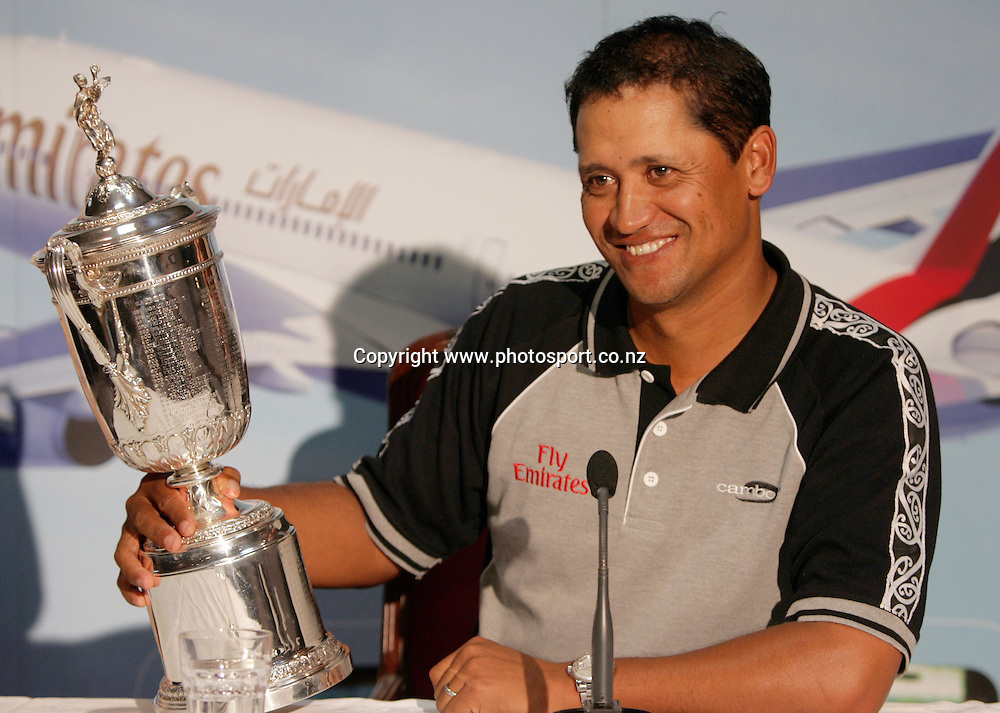 2005 US Golf Open Champion Michael Campbell talks to the press about the other names featured on the US Open trophy after arriving in Auckland this afternoon at Auckland International Airport, Auckland, New Zealand on Wednesday 27 July, 2005. Photo: Hannah Johnston/PHOTOSPORT<br /><br /><br /><br />130740
