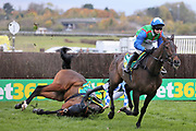 DOUBLE SHUFFLE and Jockey A P Heskin fall at the first fence in the The Class 1 bet365 Charlie Hall Steeple Chase over 3m (£100,000)   during the Bet365 Meeting at Wetherby Racecourse, Wetherby, United Kingdom on 3 November 2018. Picture by Mick Atkins.