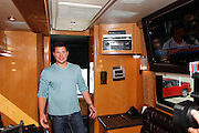 CINCINNATI, OH - OCTOBER 5:  Nick Lachey looks around the tour bus he will be traveling in during the kickoff to The Everybody Wins Tour at Freestore Foodbank on October 5, 2009 in Cincinnati, Ohio. (Photo by Joe Robbins/WireImage for Foodbank)