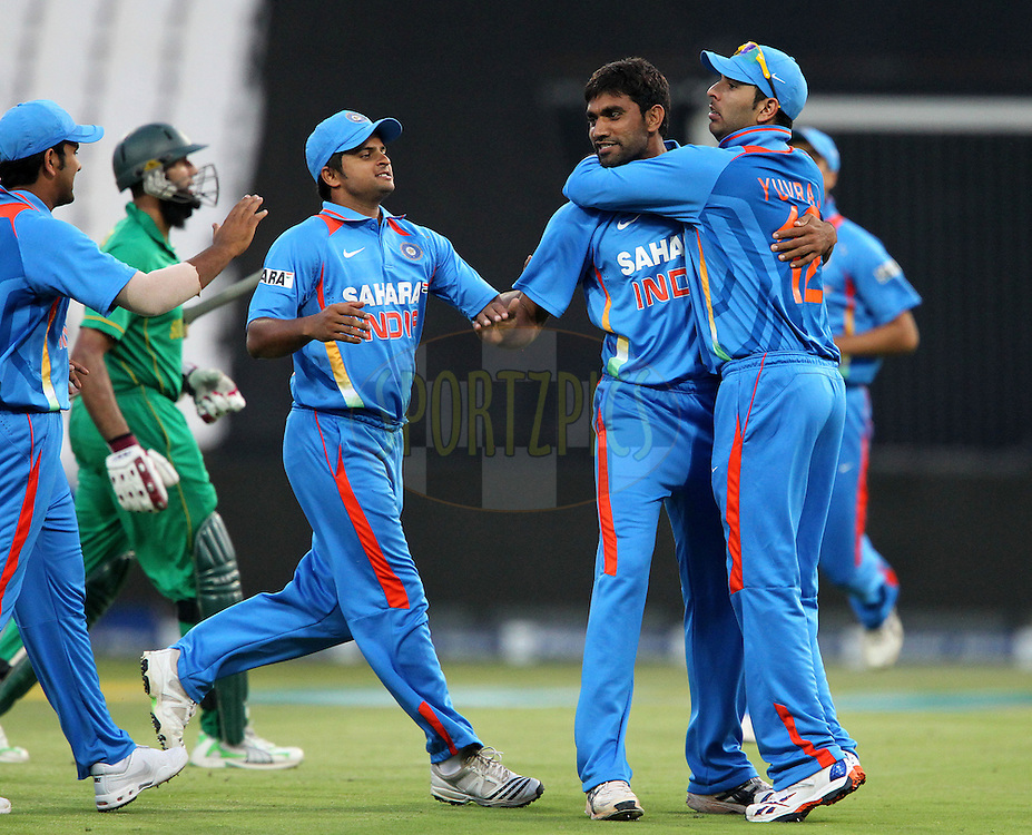 Munaf Patel of India celebrates the wicket of Hashim Amla of South Africa  during the 2nd ODI between South Africa and India held at Wanderers Stadium in Johannesburg, South Africa on the 15th January 2011..Photo by Ron Gaunt/BCCI/SPORTZPICS