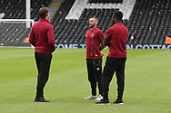 Michael McGovern of Norwich, Wes Hoolahan of Norwich and Alexander Tettey of Norwich before the Sky Bet Championship match at Craven Cottage, London<br /> Picture by Paul Chesterton/Focus Images Ltd +44 7904 640267<br /> 05/08/2017