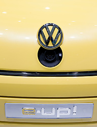 Detail of front of e-UP electric car from Volkswagen showing socket for electric recharging plug at Frankfurt Motor Show 2009