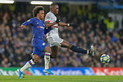 Chelsea midfielder Willian (10) battles for possession with Lille midfielder Boubakary Soumaré (24) during the Champions League match between Chelsea and Lille OSC at Stamford Bridge, London, England on 10 December 2019.