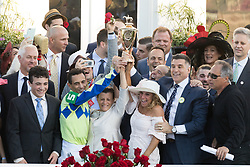 Always Dreaming with John R. Velazquez up wins the 143rd running of the Kentucky Derby at Churchill Downs May 6, 2017. Trainer Todd Pletcher, owners and connections celebrate in the winner's circle after the race.