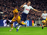 Football - 2018 / 2019 Premier Leagues - Tottenham Hotspur vs Wolverhampton Wanderers<br /> <br /> Harry Kane of Tottenham tries to get a penalty as he falls over Ivan Cavaleiro , but Referee, Stuart Attwell booked him for diving at Wembley Stadium.<br /> <br /> Credit: COLORSPORT/ANDREW COWIE