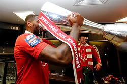 Bristol City's Jay Emmanuel-Thomas drinks from the trophy  - Photo mandatory by-line: Joe Meredith/JMP - Mobile: 07966 386802 - 22/03/2015 - SPORT - Football - London - Wembley Stadium - Bristol City v Walsall - Johnstone Paint Trophy Final