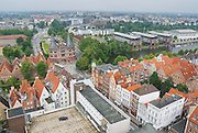 LUBECK, GERMANY - JULY 18, 2008: Aerial view to the old city and Holstentor city gate in Lubeck, Germany.