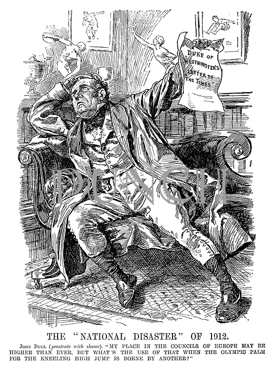 "The ""National Disaster"" of 1912. John Bull (prostrate with shame). ""My place in the councils of Europe may be higher than ever, but what's the use of that when the Olympic Palm for the kneeling high jump is borne by another?"""