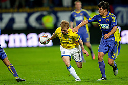 Christoper Burke of Birmingham City and Zoran Lesjak of NK Maribor at 2nd Round of Europe League football match between NK Maribor (Slovenia) and Birmingham City (England), on September 29, 2011, in Maribor, Slovenia.  (Photo by Urban Urbanc / Sportida)