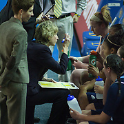 11/11/11 Newark DE: Rhode Island head coach Cathy Inglese (Center) draws up a play in the second half of a week one NCAA Women's College basketball game, Friday, Nov. 11, 2011 at the Bob carpenter center in Newark Delaware.<br /> <br /> Delaware would go on to defeat the Rhode Island rams 65-53...Special to The News Journal/SAQUAN STIMPSON