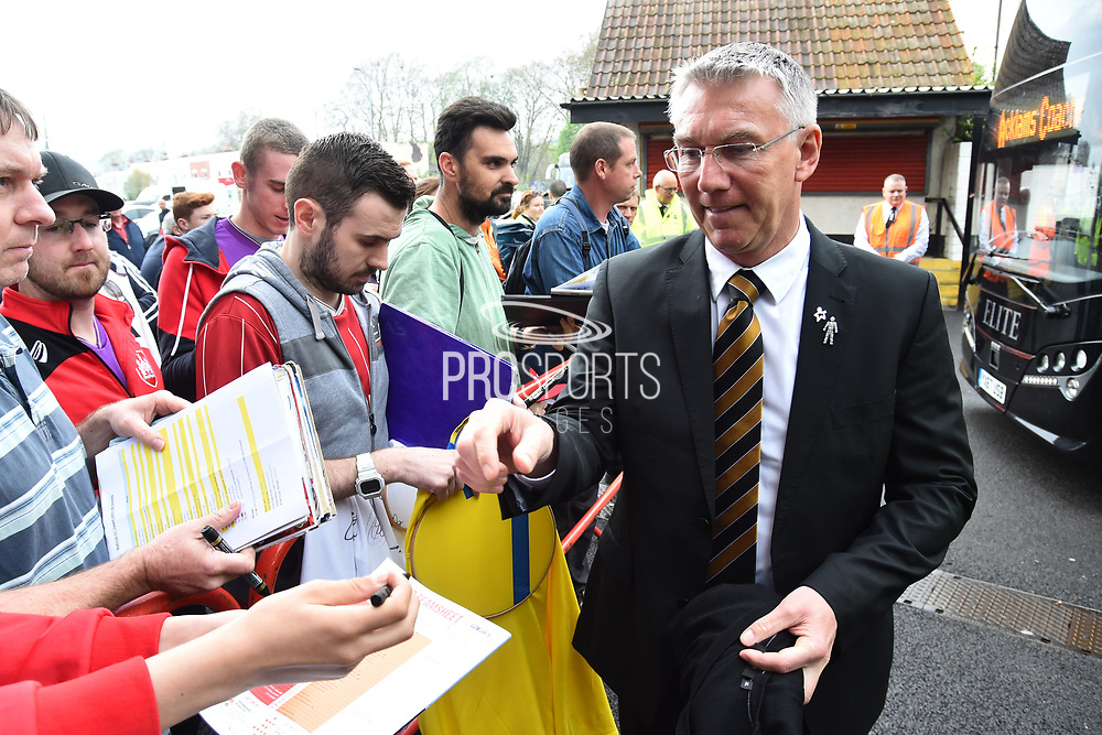 Hull City manager Nigel Adkins signs autographs for fans on arrival at Ashton Gate Stadium before the EFL Sky Bet Championship match between Bristol City and Hull City at Ashton Gate, Bristol, England on 21 April 2018. Picture by Graham Hunt.