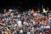 San Francisco Giants fans react to a foul ball during a game against the San Diego Padres at AT&T Park in San Francisco, Calif., on September 14, 2016. (Stan Olszewski/Special to S.F. Examiner)