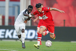 May 9, 2018 - Antwerp, BELGIUM - Eupen's Diawandou Diagne and Antwerp's Joaquin Ardaiz fight for the ball during the Jupiler Pro League match between Royal Antwerp FC and KAS Eupen, in Antwerp, Wednesday 09 May 2018, on day eight of the Play-Off 2B of the Belgian soccer championship. BELGA PHOTO BRUNO FAHY (Credit Image: © Bruno Fahy/Belga via ZUMA Press)