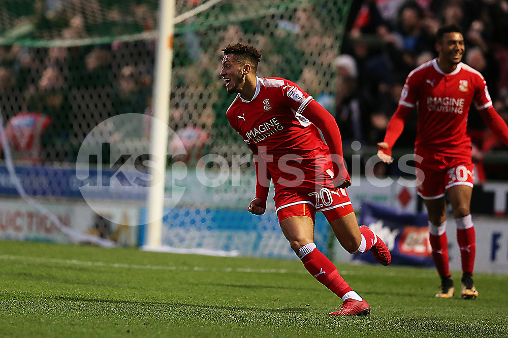 Kellan Gordon of Swindon Town celebrates equalising during the EFL Sky Bet League 2 match between Yeovil Town and Swindon Town at Huish Park, Yeovil, England on 18 November 2017. Photo by Dave Peters.