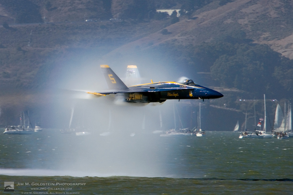 """Blue Angels """"sneak pass"""" maneuver and flyby during the 2007 Fleet Week performance in San Francisco"""