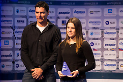 Vasilij Zbogar and Lin Pletikos at ceremony of Slovenia Sailing Federation for best Sailor in 2017, on February 7, 2018 in Ljubljana castle, Ljubljana, Slovenia. Photo by Urban Urbanc / Sportida