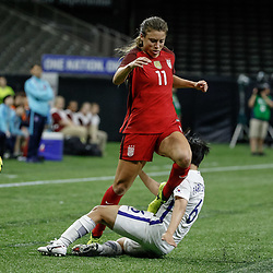 Oct 19, 2017; New Orleans, LA, USA; USA defender Sofia Huerta (11) collides with Korea Republic midfielder Park Chorong (6) during the second half of an International Friendly Women's Soccer match at the Mercedes-Benz Superdome. Mandatory Credit: Derick E. Hingle-USA TODAY Sports