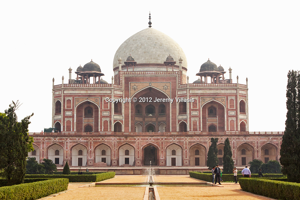 Inspired by Persian architecture, Humayun's Tomb is 47 meters high and 300 feet (91 m) wide. The tomb is built of rubble masonry and red sandstone. It also uses white marble as a cladding material as well as, for the flooring, lattice screens, door frames, and the main dome.