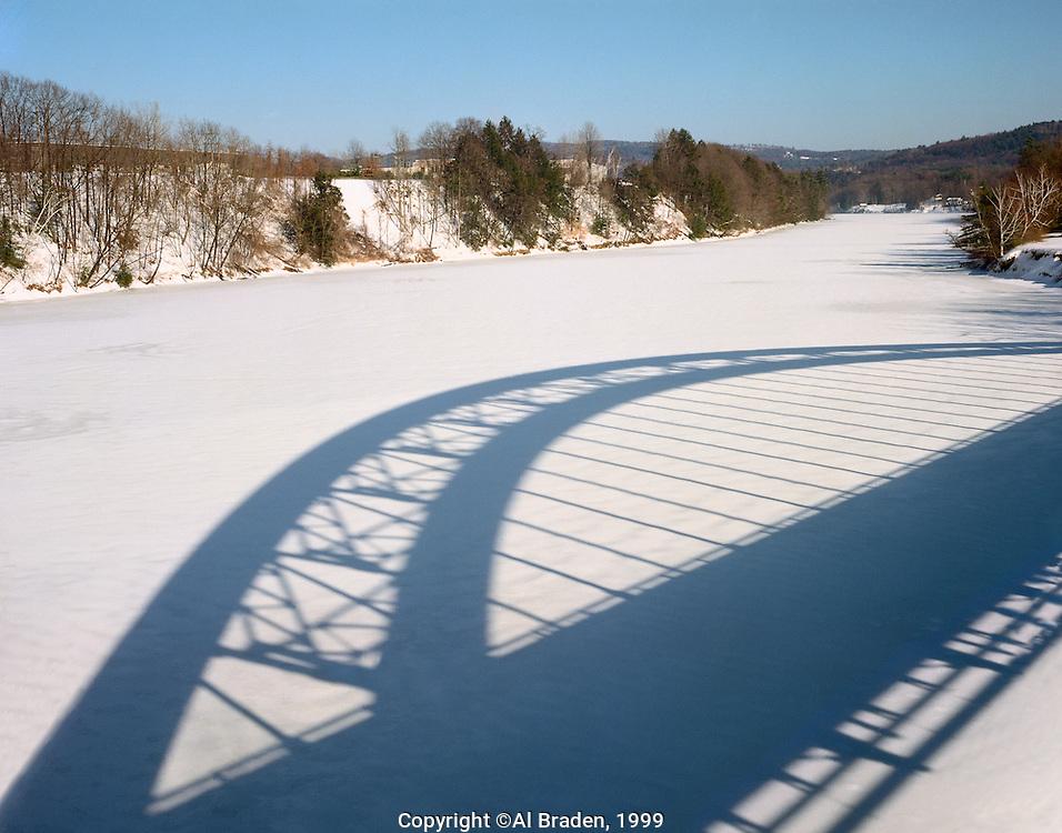 Shadow of Rt. 9 Bridge on Connecticut River, Brattleboro, VT