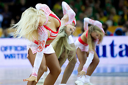 Cheerleaders Red Foxes during basketball game between National basketball teams of Slovenia and Lithuania at of FIBA Europe Eurobasket Lithuania 2011, on September 15, 2011, in Arena Zalgirio, Kaunas, Lithuania. Lithuania defeated Slovenia 80-77.  (Photo by Vid Ponikvar / Sportida)